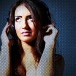 Sophia model with headphones art work at newcastle studio