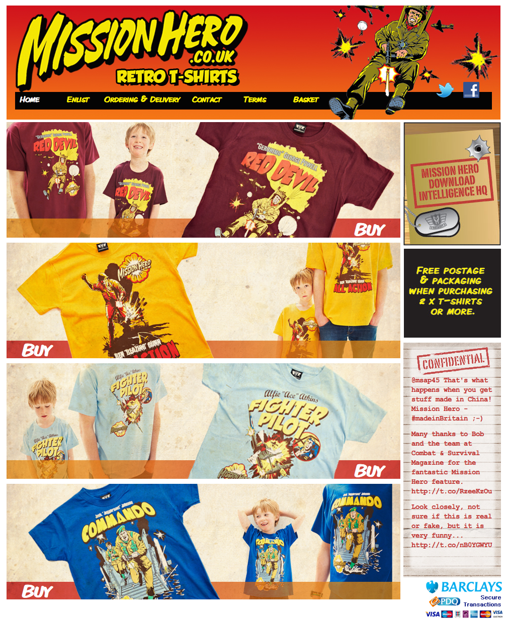 mission hero website for retro army tshirts
