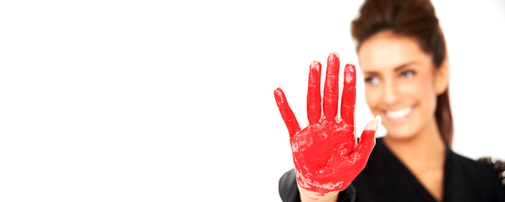 studio shoot with red paint on hands