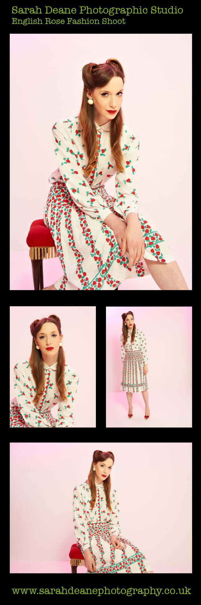English Rose fashion shoot at newcastle fashion studio