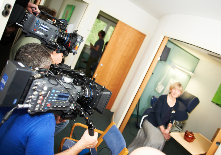 AXA healthcare insurance stand up to cancer campaign- cancer counsellor being filmed in hospital