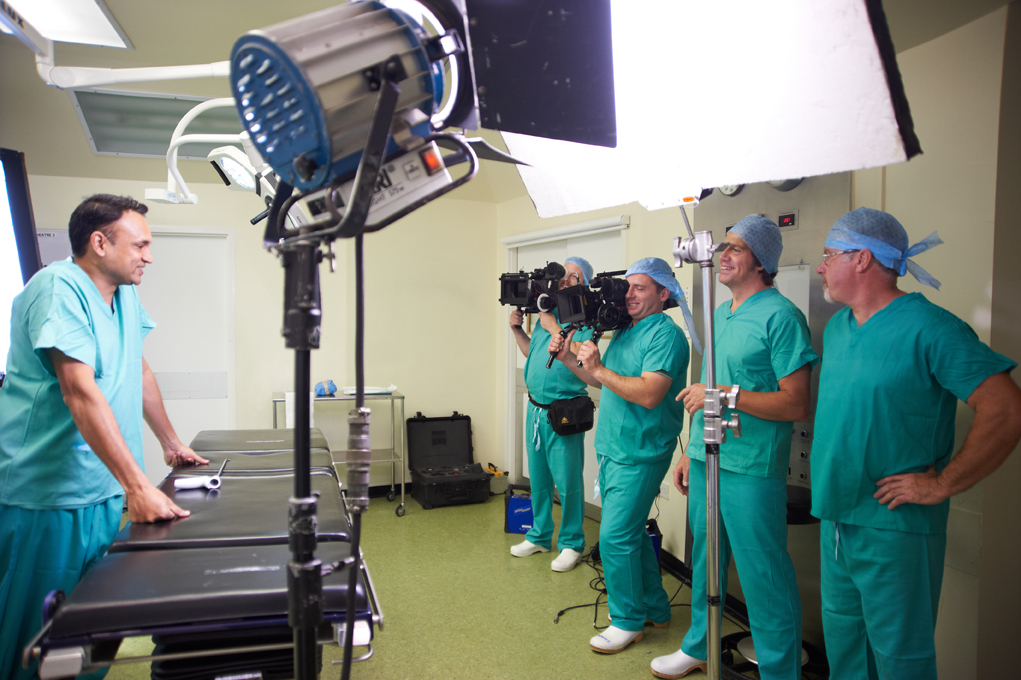 AXA healthcare insurance stand up to cancer campaign-surgeon in operating theatre