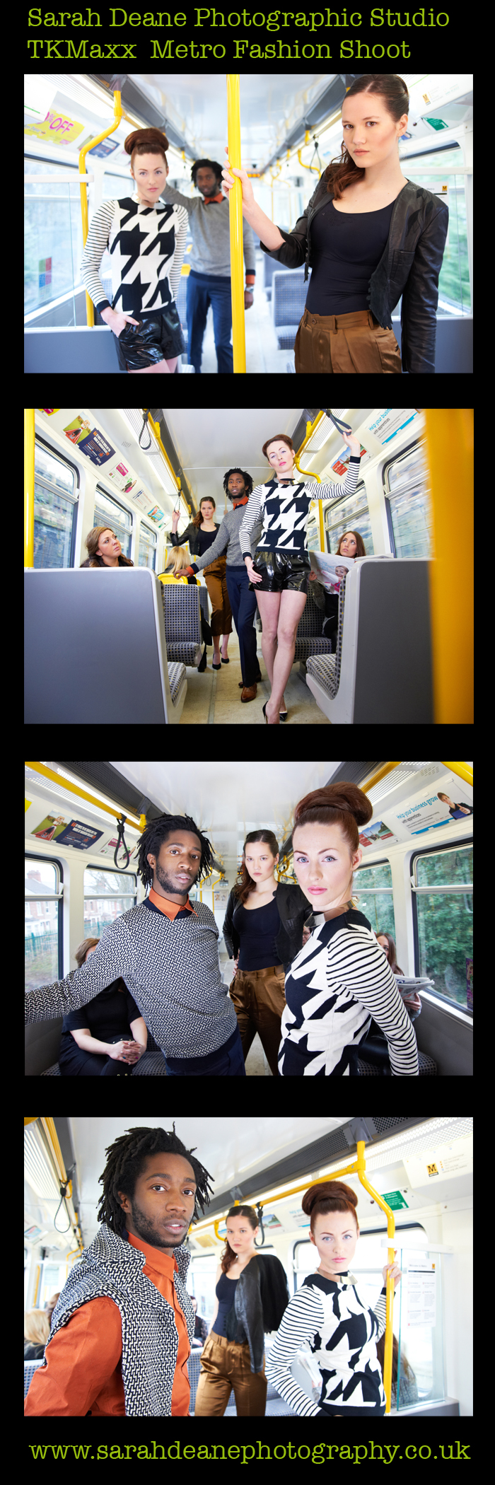TKMaxx Fashion shoot to promote the new store opening in newcastle on a moving metro carriage