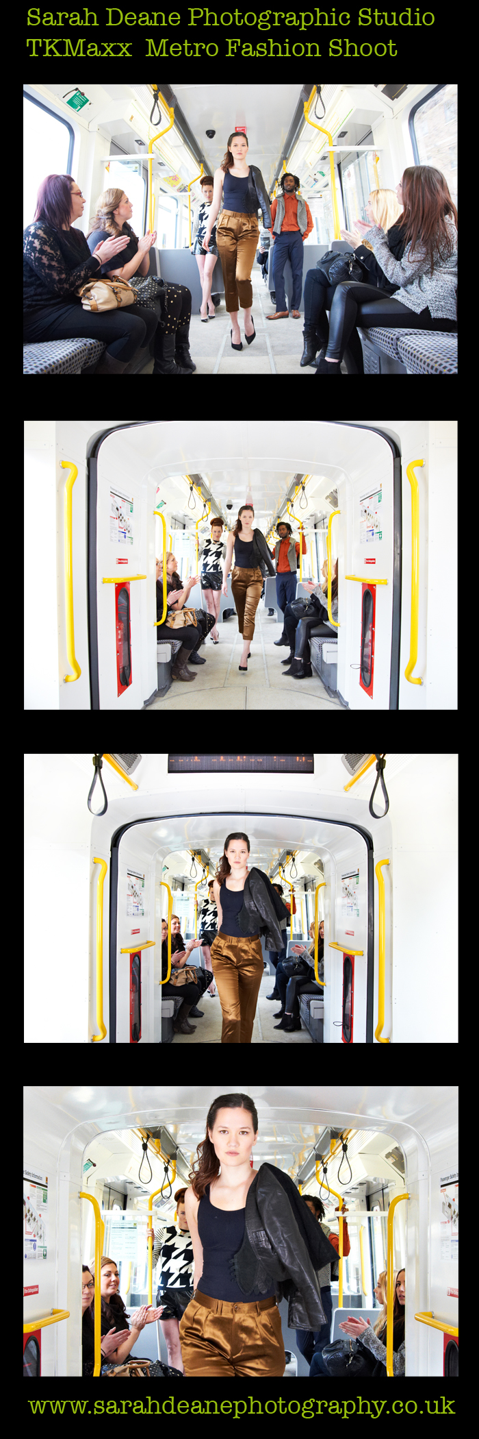 TKMaxx shoot for McCann Manchester on moving metro train carriage in newcastle for PR for opening of new store