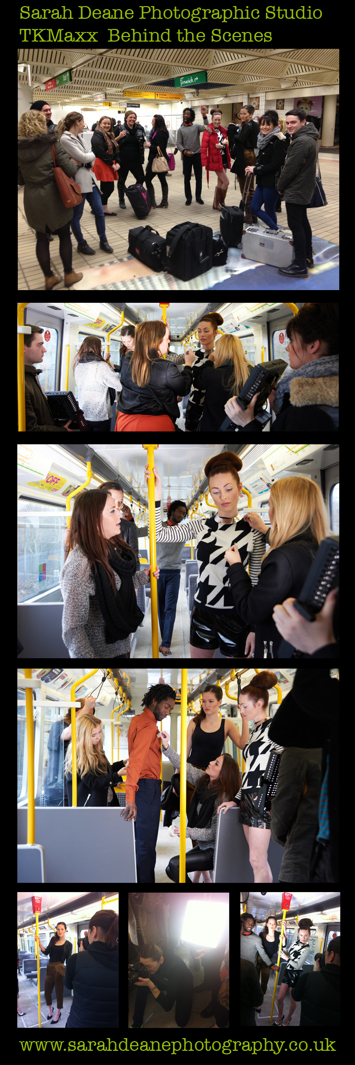 behind the scenes on TKMaxx fashion photoshoot on moving metro train carriage newcastle