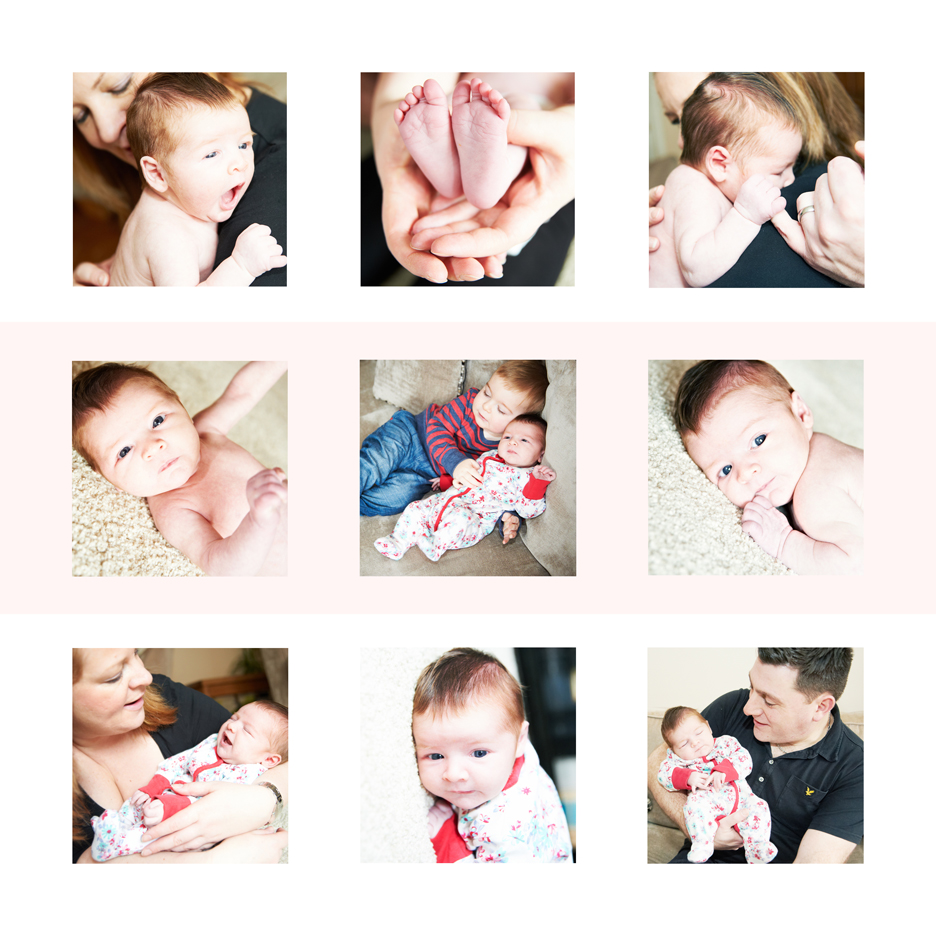 9 tile design of family portraits of newborn family shot