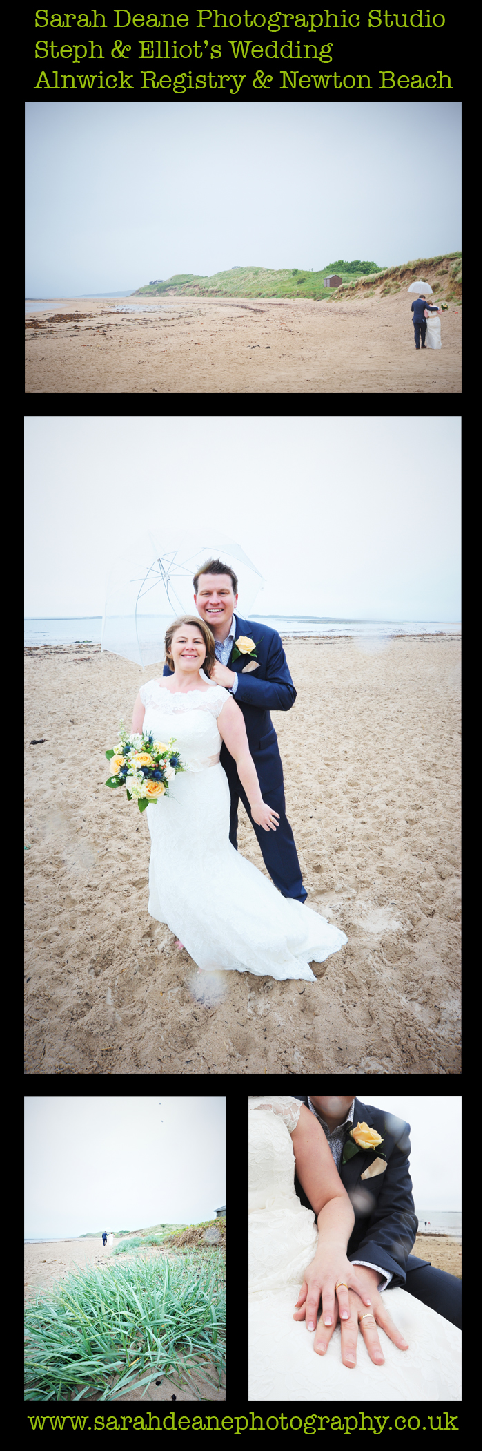 rainy beach wedding in northumberland