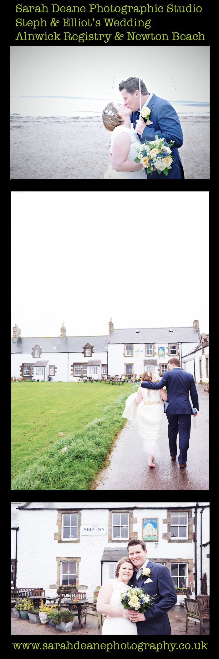 vintage wedding photos at the ship inn pub low newton beach wedding photography