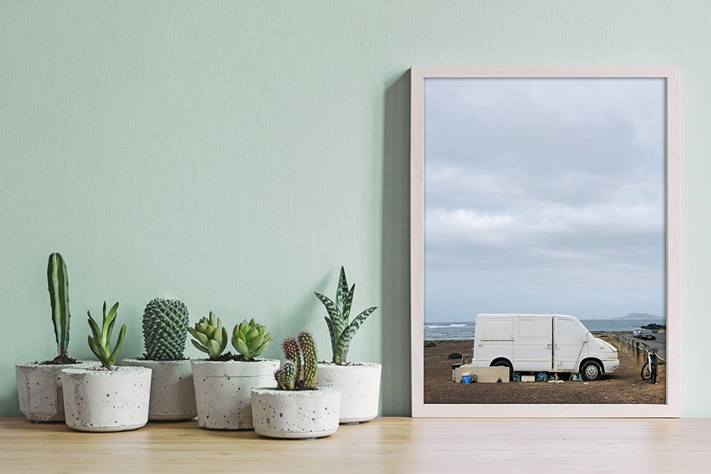 Minimalistic home interior with photo print to buy