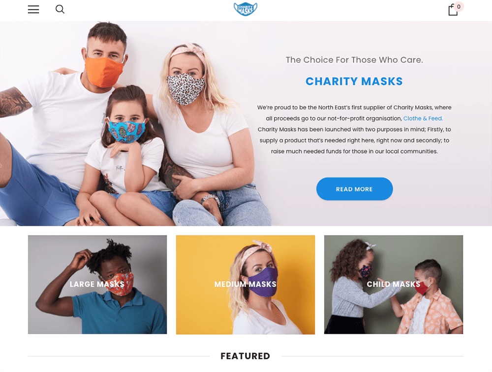 Newcastle photography of Charity face masks