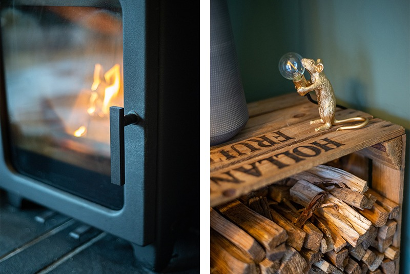 Photography of interior design and log burner installation in living room in Newcastle 8