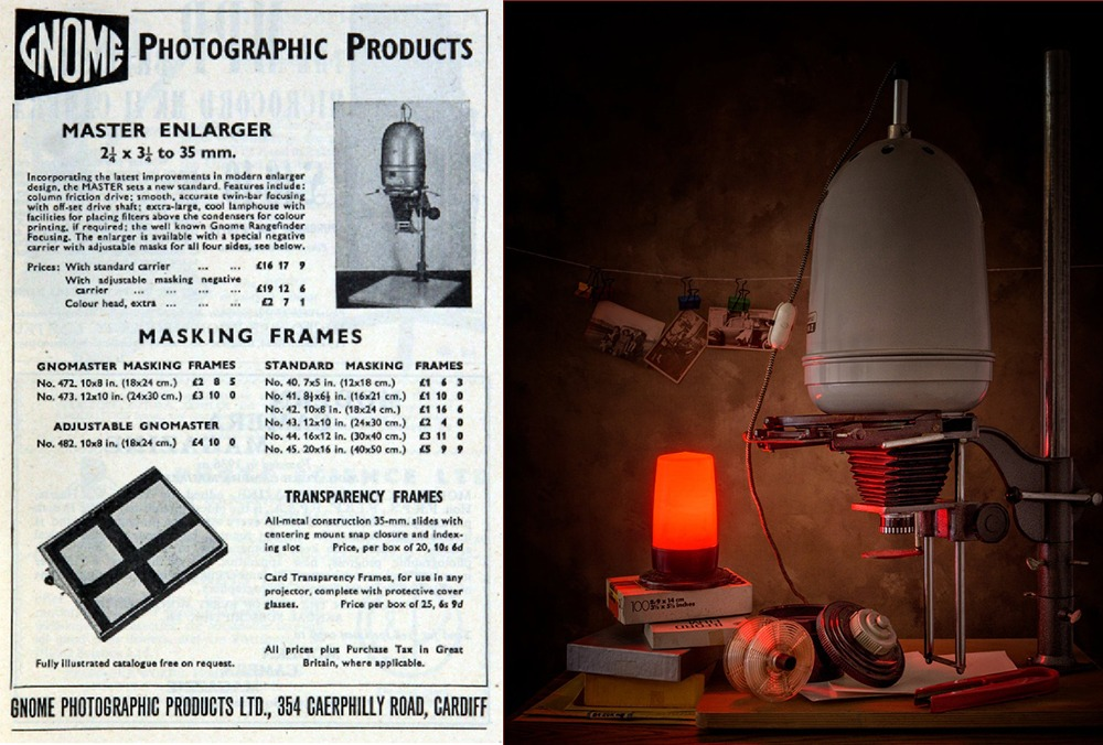 Photography in a dark room with a gnome enlarger